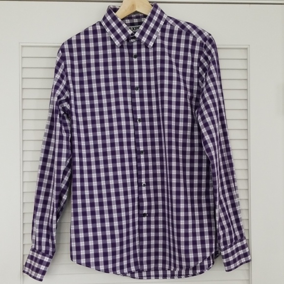 Express Fitted Purple Shirt 14-14½ Gingham